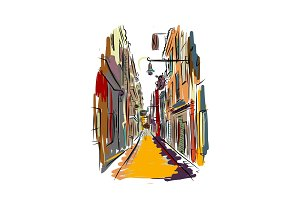 Old european street, sketch for your