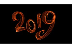 Happy new year 2019 isolated numbers