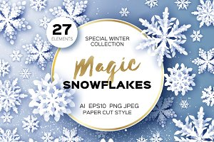 27 MAGIC SNOWFLAKES. Paper cut style