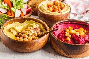 Different hummus bowls.