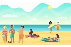Beach summer people illustration