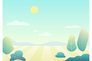 Fantasy cartoon summer field