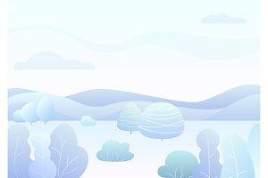 Fantasy winter forest landscape