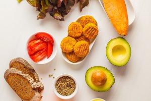 Vegan ingredients on white