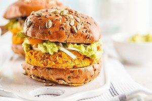 Vegan sweet potato burger