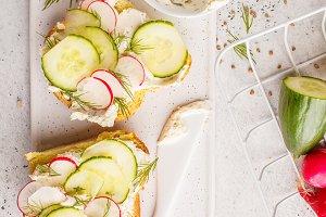 Breakfast cream cheese sandwiches