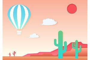 Mesa, cactus and air ballon