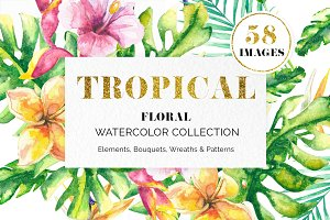 Tropical Floral Watercolor Set