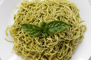 Plate of pasta spaghetti with pesto