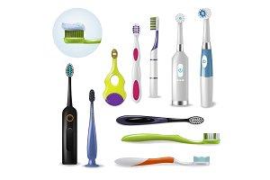 Toothbrushe vector dental hygiene