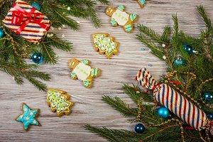 Glazed Christmas gingerbread  tree b