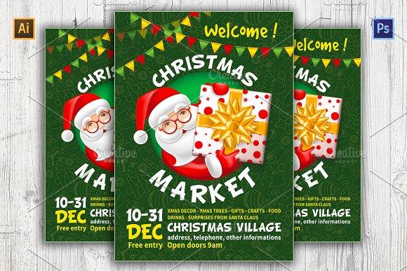 Christmas Market Poster Template Flyer Templates Creative Market