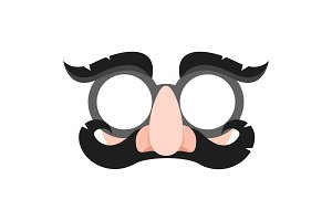 Mask of a brunette man with mustache