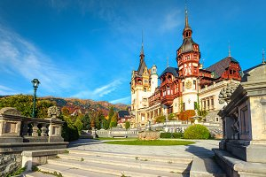 Spectacular frontage of Peles castle