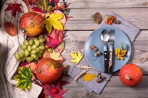 Autumn dinner, thanksgiving table
