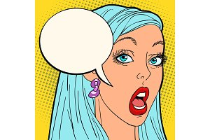 surprised pop art woman
