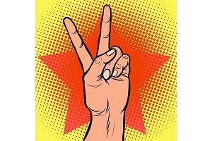 hand victory gesture