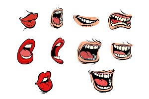 facial expression lips set