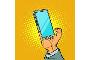Man with hand smartphone. The gadget