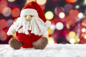 Santa Claus with a lights bokeh