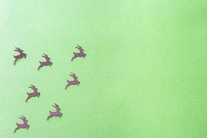 Golden deers flying