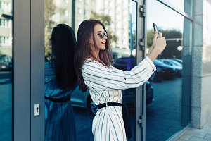 young beauty woman make selfie for s