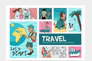 Summer travel infographic template