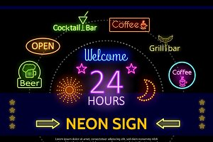 Glowing promotional neon signs
