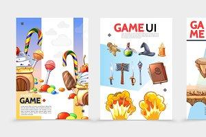 Flat game UI posters