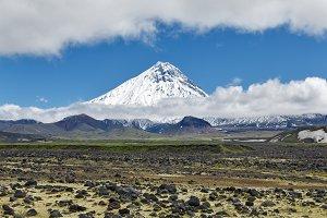 Mountain landscape, volcano, tundra