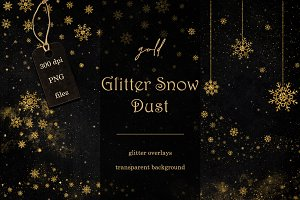 Gold glitter snow dust overlays