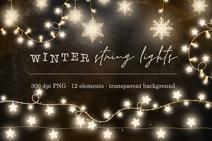 Warm winter string lights clipart