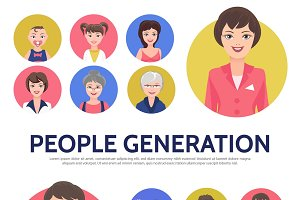 People generation avatars set