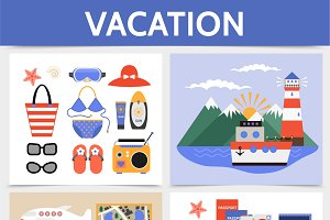 Flat summer vacation concept