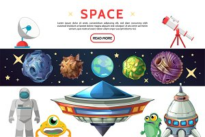 Cartoon space composition