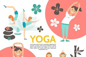 Flat yoga and harmony poster