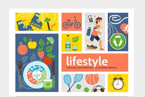 Healthy lifestyle infographic set