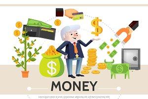 Flat cash icons composition
