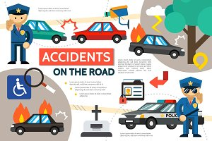 Road accident infographic template