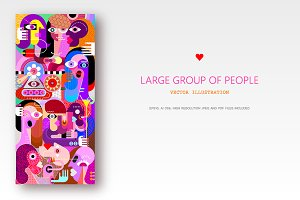 Large group of people vector artwork