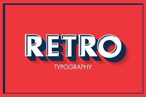 retro typography vector