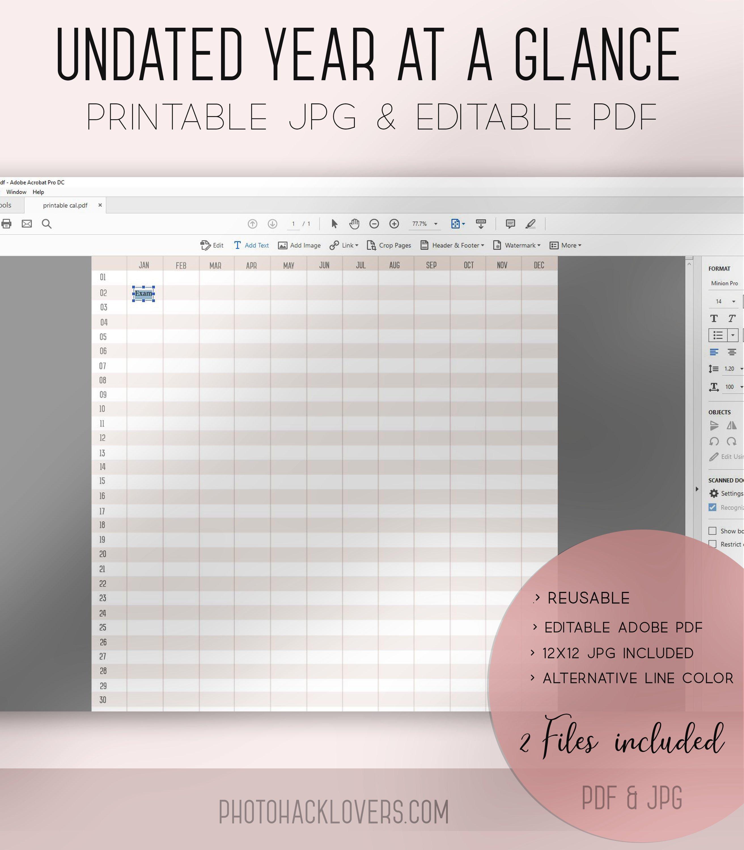 Undated Reusable Calendar template ~ Stationery Templates ~ Creative Market