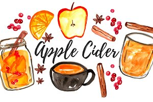 Watercolor Fall Apple Cider Clipart