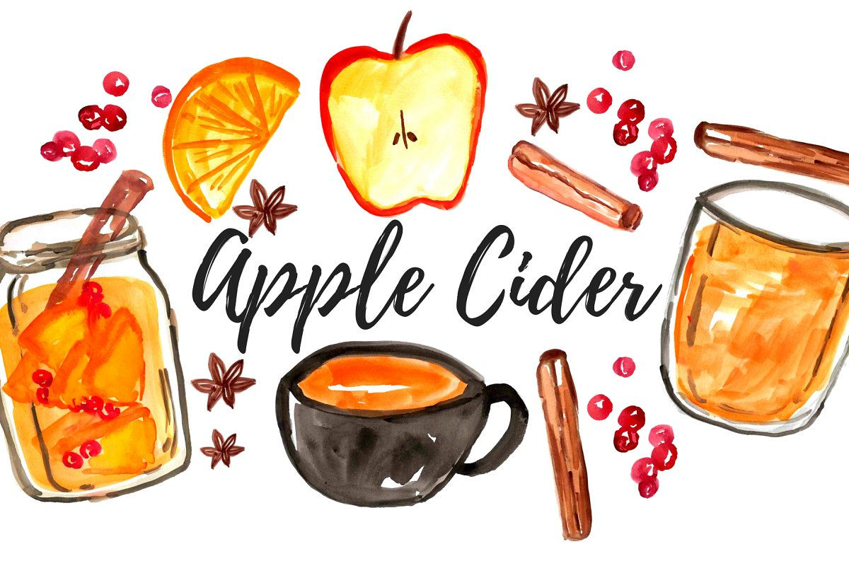 Watercolor Fall Apple Cider Clipart | Custom-Designed ...