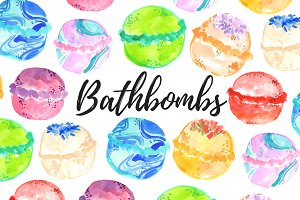 Watercolor Bathbomb Clipart