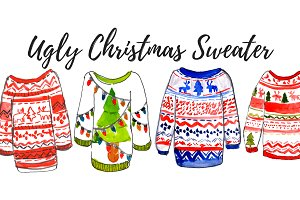Ugly Christmas sweater clipart set