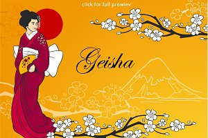 Geisha vector design elements set