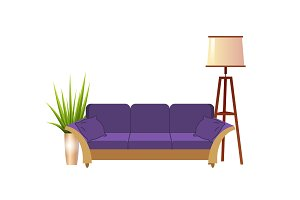 Realistic violet sofa with floor