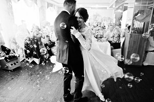 Beautiful wedding couple performing
