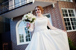 Portrait of an attractive bride spin